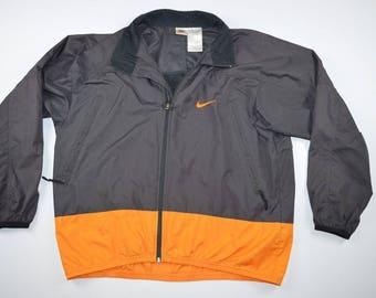 90s Nike Full Zip Outdoor Fall Windbreaker Jacket Mens Large, Vintage Nike Windbreaker, Vintage Jacket, Retro Coat, Outdoor Jacket Gray