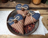 Set of 3 Patriotic Hearts, Primitive Hearts, Heart Bowl Fillers, Primitive Americana, Red White and Blue, 4th of July Decoration, Hearts
