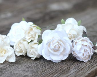 White Bridal Flower Hair Pins - Bobby Hair Pins Ivory - Hair Accessories Bridal - Hair Pins Bridesmaid - Hair Pins Wedding - Flowers White