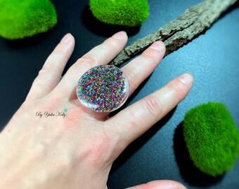 Glass Globe Ring, Glass Globe Terrarium, Glass Bulb Rings, Round Clear Glass Ring, Glass Globe Jewelry, Big Glass Ring, Round Candy Ring