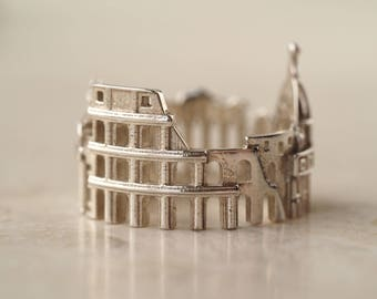 Rome Cityscape - Skyline Statement Ring - Bridesmaid Gift - Mother of the Bride Gift - Anniversary Gift - Mothers Day