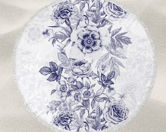 Navy Floral over-sized round beach towel