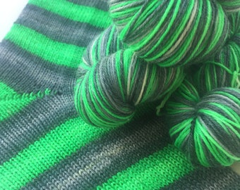 Hand dyed self striping merino bamboo sock yarn - Stay Out of the Forest