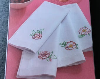 Martha Stewart Crafts Napkin Set Four Embroidered Napkin  Design Rose Floral Romantic Design Hostess Gift