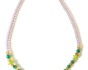 Costume for woman - long necklace - jewellery between green and purple