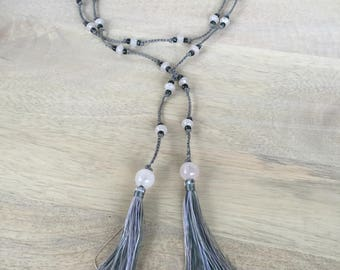 "Rose Quartz Gemstone and Seed Bead and Opalescent Tassel Lariat Necklace Silver Crochet Knotted Cord ""Lovie"""