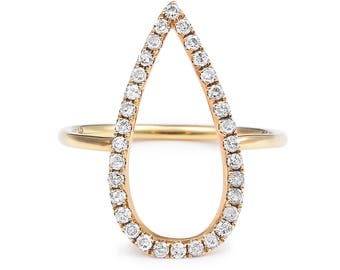 Diamond Pave Ring, 18K Gold and Diamond Ring, Diamond Gold Ring , Pear Shape Diamonds and Gold Ring, Pear Shape Ring, PearShape Diamond Ring