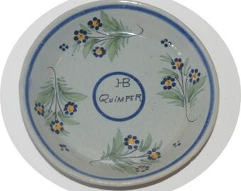 """5"""" Vintage HB QUIMPER FAIENCE  Plate/Shallow Bowl  Floral with Blue Glaze Top-Signed 1922-68 Mark"""