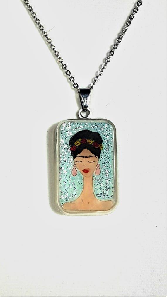 Frida Kahlo aqua pendant (Glitter Collection)