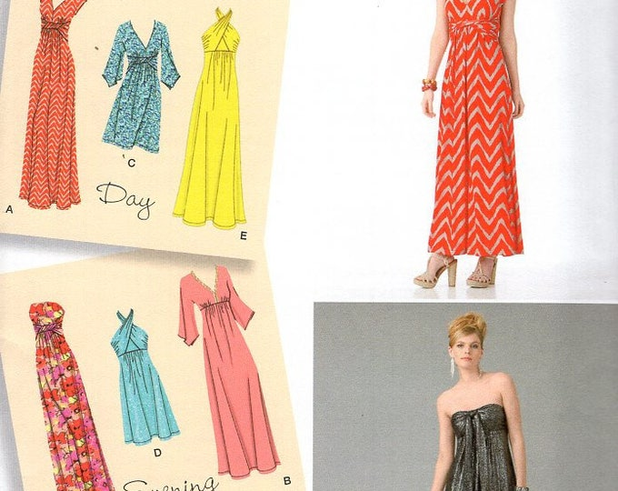 Simplicity 2362 Free Us Ship Sewing Pattern Dress Day Evening Halter Strapless Uncut Size 6/14 14/22 Bust 30 32 34 36 38 40 42 44 New