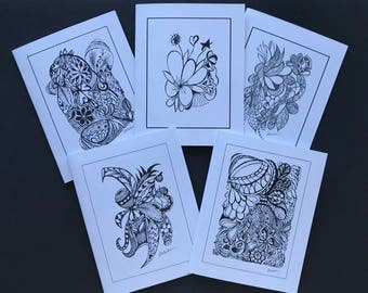 Set of 5 Zentangle Note Cards / Birthday / Any Occasion / Friendship / Thank You / Just Because / Greeting Cards