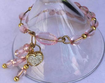 Gold Pink Rhinestone Bangle Bracelet