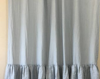 grey linen shower curtain. Duck Egg Blue Shower Curtain with 2 Tiered Mermaid Long Ruffles  the glamour of Chambray Grey Linen Mildew Free 72x72