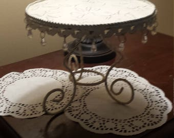 Metal Cake Stand White/Off White Shabby Chic Cupcakes Centerpiece with Crystals