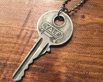 Key Necklace - hand stamped with an arrow