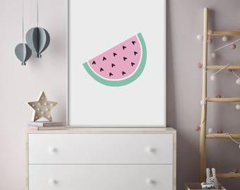 Heart Pips Watermelon - Nursery Print - Children's Wall Art - Baby Nursery Decor - Kids Room - Pink - Modern - Contemporary - Fruit