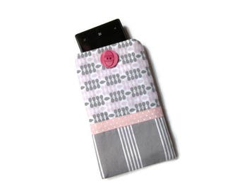 cover, case, pouch for cell phone, gray and pink, printed chart
