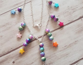 Silver necklace, multicolor beads and Star