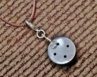 Vintage Smoky Mother of Pearl Button Floating Charm Pendant Necklace With Brown Cord #30020