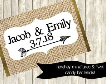 Personalized Wedding Favor, Chocolate Label, Printable Wedding Favor, Hershey's Miniatures, Twix Wrapper, PDF Label, Rustic Wedding