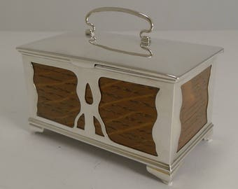 English Art Nouveau Oak and Sterling Silver Trinket Box by Deakin and Francis