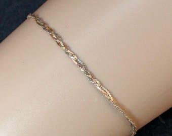 "Estate 14K Yellow and White Gold 7"" Three-Strand Braided Serpentine Chain Bracelet .7 Grams"