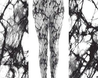 Halloween Leggings for Women, Cobweb Leggings, Black and White Leggings, Spider Web Leggings, Novelty Leggings, Horror Leggings, Fab Bikini