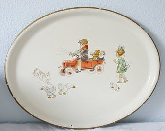 Large Vintage Enameled Metal Serving Tray, Kate Greenaway Decor, Germany