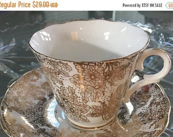 ON SALE 20% Antique Chintz China, 1940's Tea Cup and Saucer Vintage Gold Teacup, Chintz Teacup Set, Gift for Bride, Tea Cup For Bride, Weddi