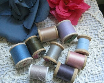 Vintage Wooden Thread Spools Lot #2 Nine Spools of Vintage Thread
