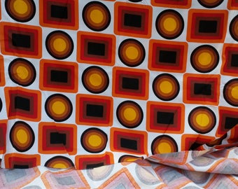 Vintage Fabric Retro Geometric, Mid-Century Heavy Cotton Upholstery Fabric, Grand Teint Meubles, Bold Colours,