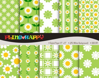 70% OFF Daisy Lime Green Digital Papers, Daisy Lime Green Digital Papers Graphics, Personal & Small Commercial Use, Instant Download