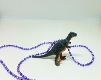 Dinosaur Necklace Purple Ball Chain Grey and Peachy Dinosaur Jewelry Gifts 5 and Under