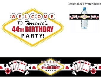 Las Vegas Casino Theme Birthday Party water bottle labels