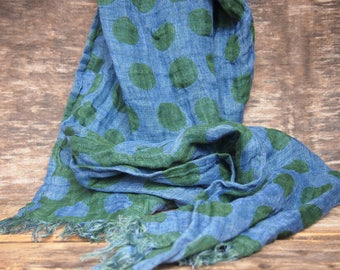 SALE - Linen Scarf, Blue, Green Scarf, Dots Linen Scarf, Ready to Ship