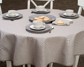 Lovely Linen Oval Tablecloth, Natural, White Linen Table Top, Linen Table Cover,  Christmas