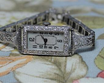 Ladies Platinum Antique Diamond Watch