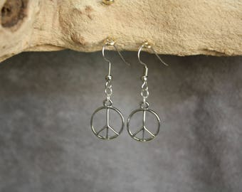 Silver Plated Peace Sign Earrings