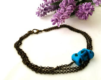 Boho bohemian Body slave Anklet bracelet Turquoise bronze bronze bangle bracelet for her
