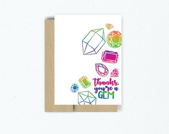 "Thank You ""Thanks You're A Gem"" Greeting Card"