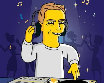 DJ Gift  - Custom Portrait from your Photo as Yellow Cartoon Character