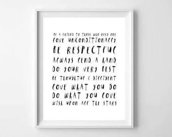 Family Rules Print, Motivational Print, Inspirational Print, Printable Art, Classroom Rules Print, Dorm Decor, Playroom Decor, Rules Print