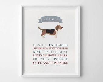 Beagle Art, Dog Illustration, Dog Print, Beagle Dog Gift, Dog Wall Art, Dog Lover, Beagle Lover Gift, Dog Art, Pet Art, Beagle Gifts