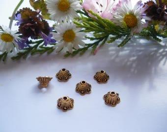 10 antique Tibetan spacer beads