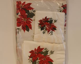 Vintage Christmas Paper Table Cloth - Unused Unopened Paper Poinsettia Tablecloth with Napkins - Xmas Cocktail Napkins