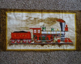"Railroad Fabric panel barkcloth 44"" X 22"" Wesco-Reltex E & LRR TRAIN"