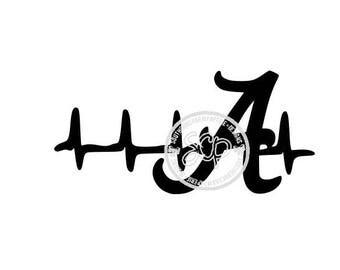 Alabama Inspired Initial A EKG Heartbeat SVG Alabama Roll Tide Bama Football National Champs University UOFA