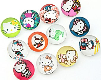 lot 12boutons snaps hello kitty