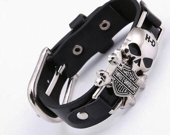 hd harley davidson leather bracelet