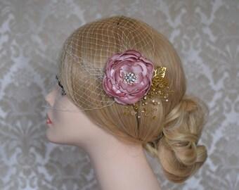 Wedding Veil, Birdcage Veil, Bridal Headpiece, Wedding Fascinator, Bridal Hair FLower, Bandeau Wedding Veil, Flower Veil, Flower Hair Clip